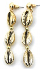 E-E18.1 E538-002 Shell Earrings 7x1.2cm Chrome-Gold