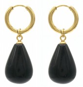 A-C18.4  E2121-057G S. Steel Earrings 3x1cm Black Agate